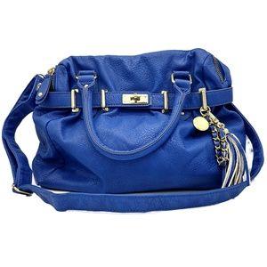 Steve Madden Handbag Tassel Royal Blue Gold NWOT